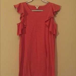 J Crew Factory red and white striped dress